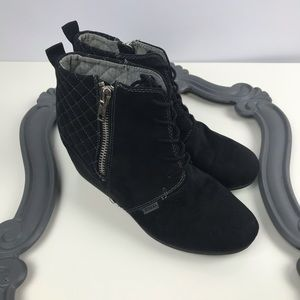 Black Suede Wedge Booties BONGO 10